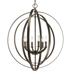 Foyer chandelier progress lighting equinox collection 6 light antique bronze