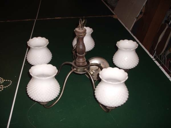 Milk glass chandelier 22