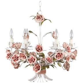 Painted tole chandelier with flowers from italy from a unique
