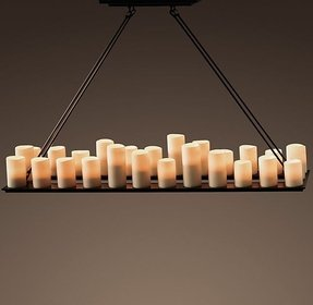 Pillar candle rectangular chandelier 1