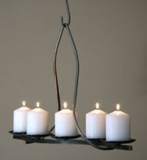Pillar candle rectangular chandelier