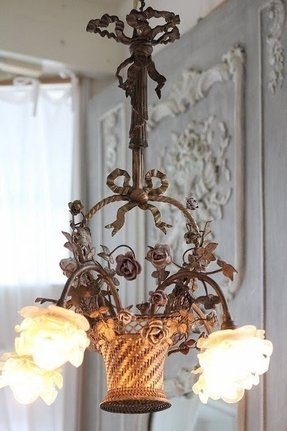 Tole painted chandelier 6