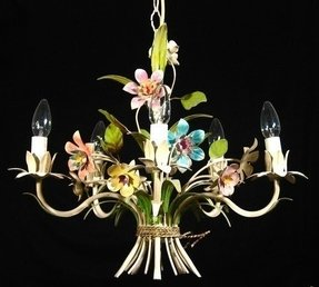 Vintage french tole toleware chandelier bouquet of flowers