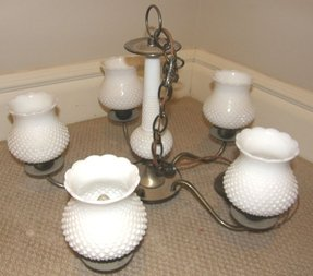 Vintage hobnail milk glass chandelier ceiling light fixture