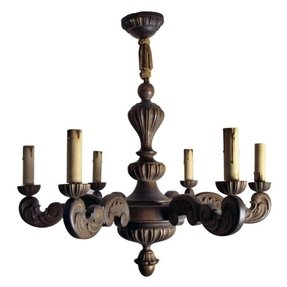 Carved wood 6 light chandelier foter vintage swedish carved wood rococo style 6 arm chandelier aloadofball Gallery