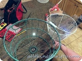 Wire basket chandelier 12