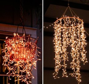 Wire basket chandelier foter wire chandelier diy aloadofball Choice Image