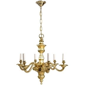 A six light solid brass chandelier 24 3 4 diameter