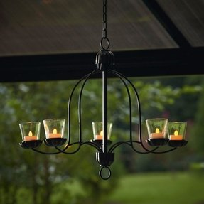 Candle Chandelier Votive Metal Tealight Gazebo Outdoor Light Gl