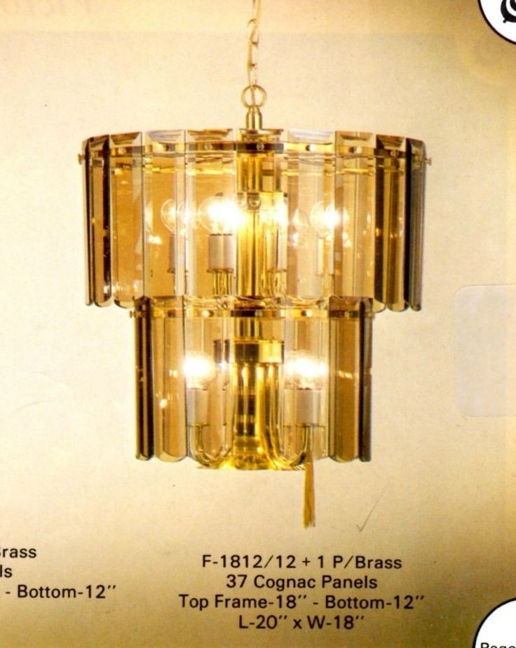Cognac Beveled Glass Chandelier F1812 12 1 New Polished Brass Spring Retro 1970s