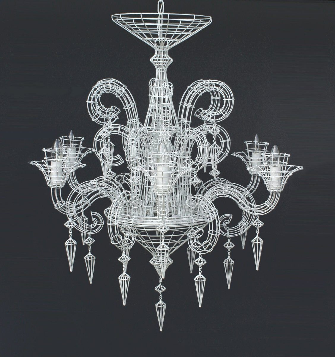 french wire chandelier foter rh foter com Wire Basket Chandelier install chandelier light fixture