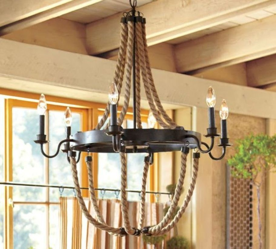 Griffin rope iron chandelier