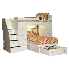 Twin over full bunk bed with staircase 1