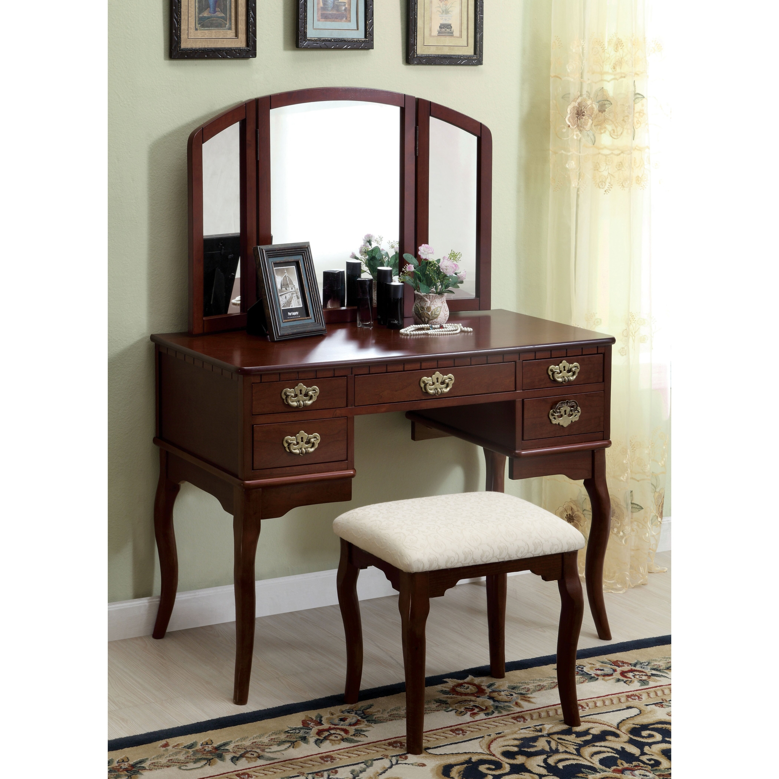 3 Piece Vanity & Stool Set
