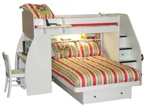 Berg Furniture Sierra Twin Over Full L Shaped Bunk Bed With Desk And Storage