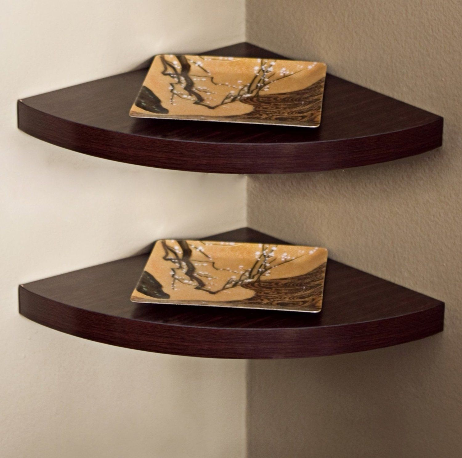 Superbe Corner Radial Wall Shelf (Set Of 2)