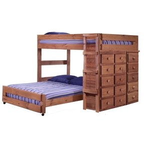 Full Over Full L-Shaped Bunk Bed with 15 Drawer Chest