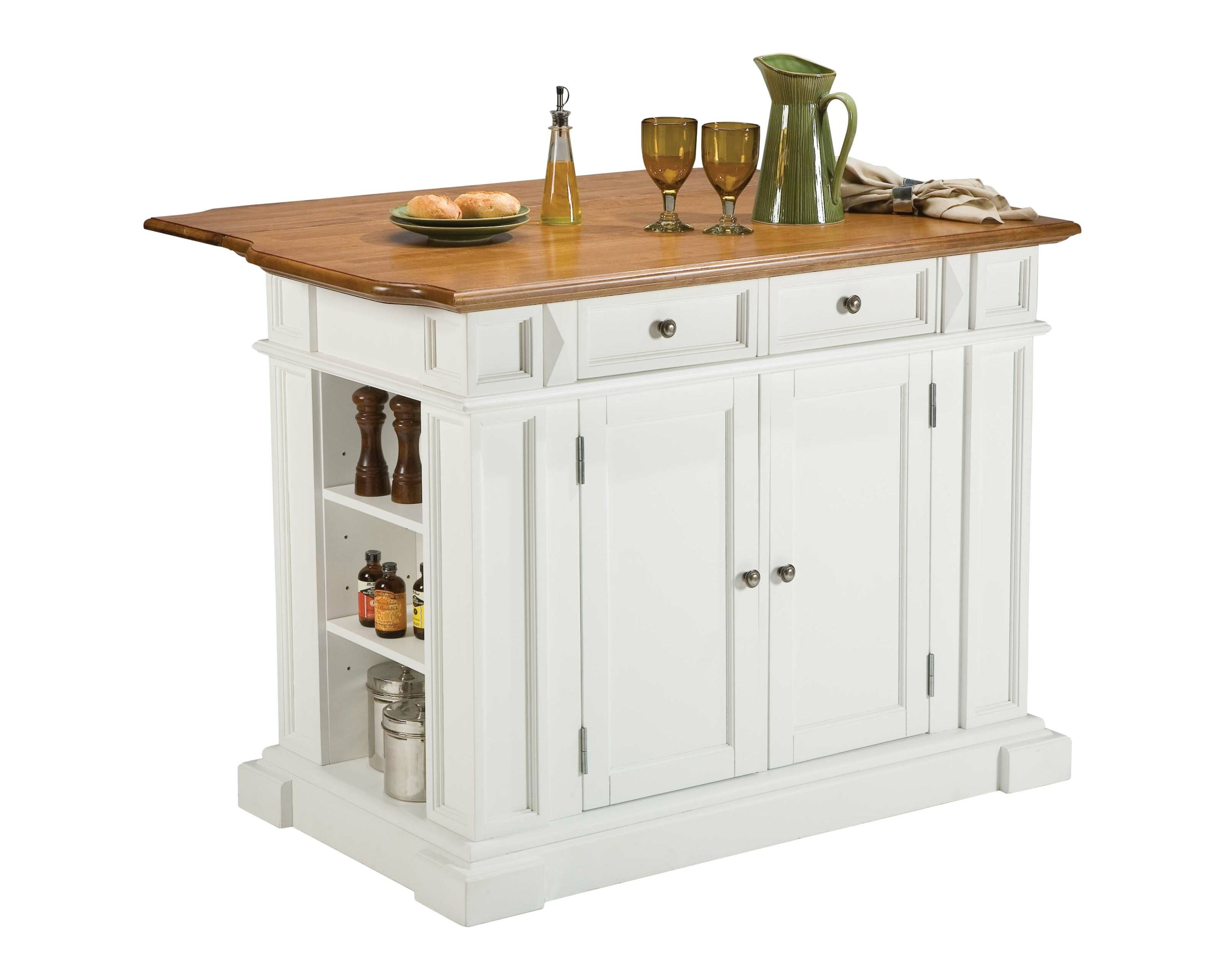Ordinaire The Functional Kitchen Island Equipped With Cabinets, Drawers And Shelves  For Storage. Sturdy Construction Is Made Of Wood With Small Metal  Components.