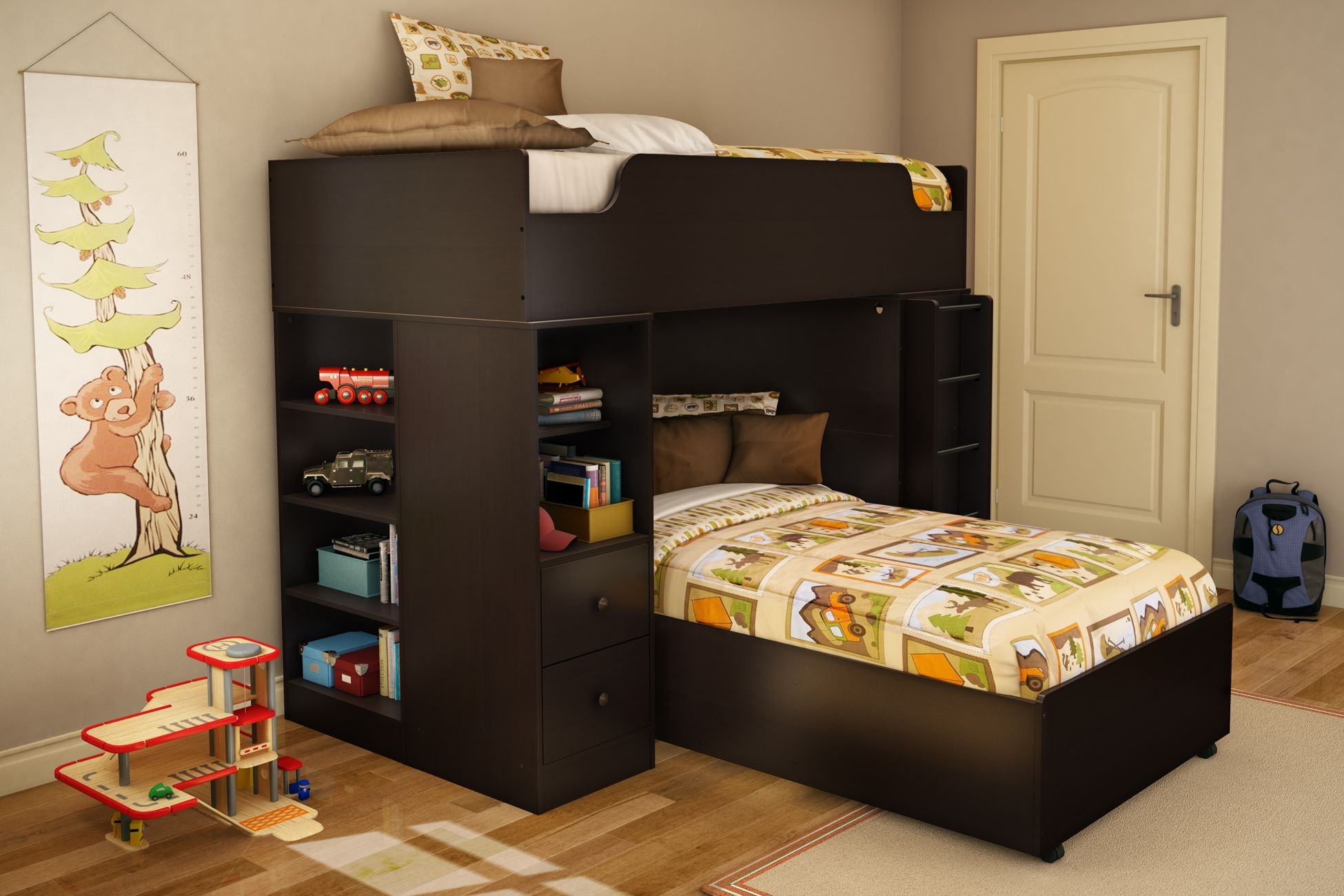 Logik Twin Over Twin L Shaped Bunk Bed With Desk