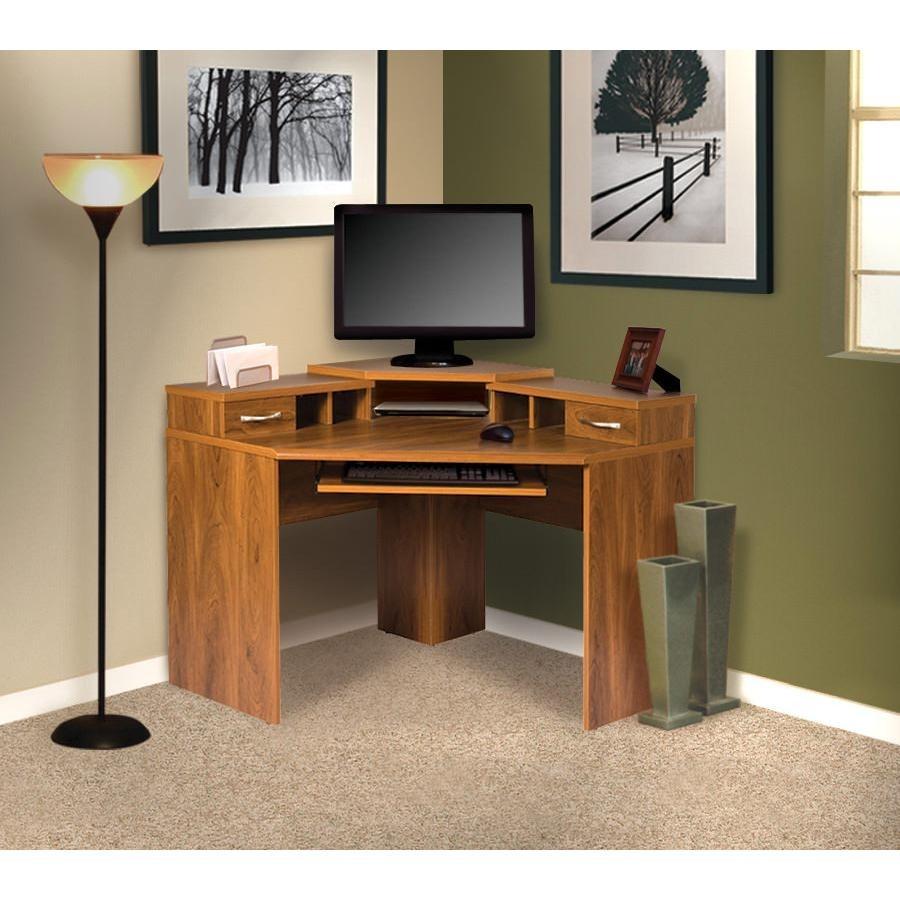 Office Adaptations Corner Computer Desk With Monitor Platform