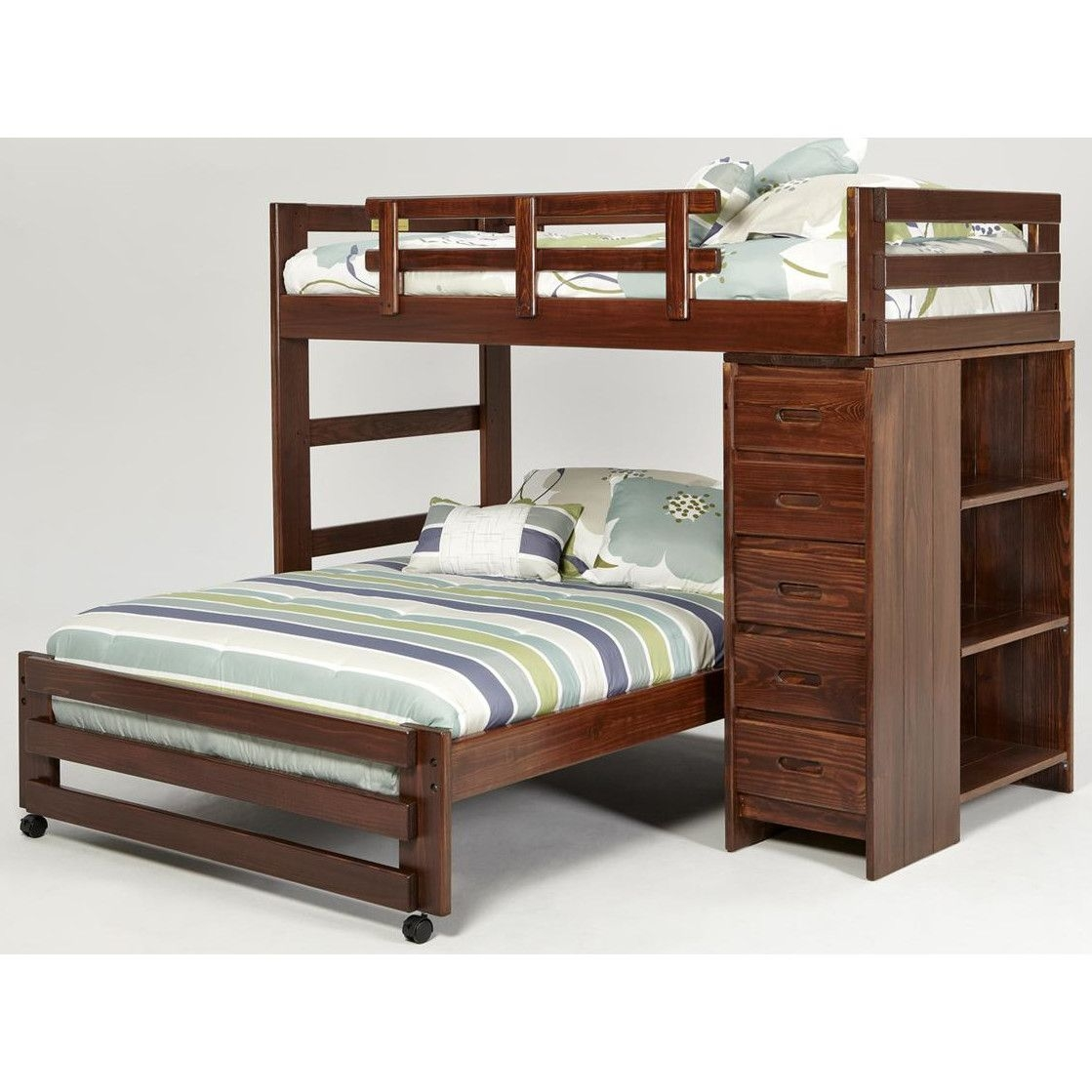 Twin over Full L-Shaped Bunk Bed with 5 Drawer Chest and Bookshelf End