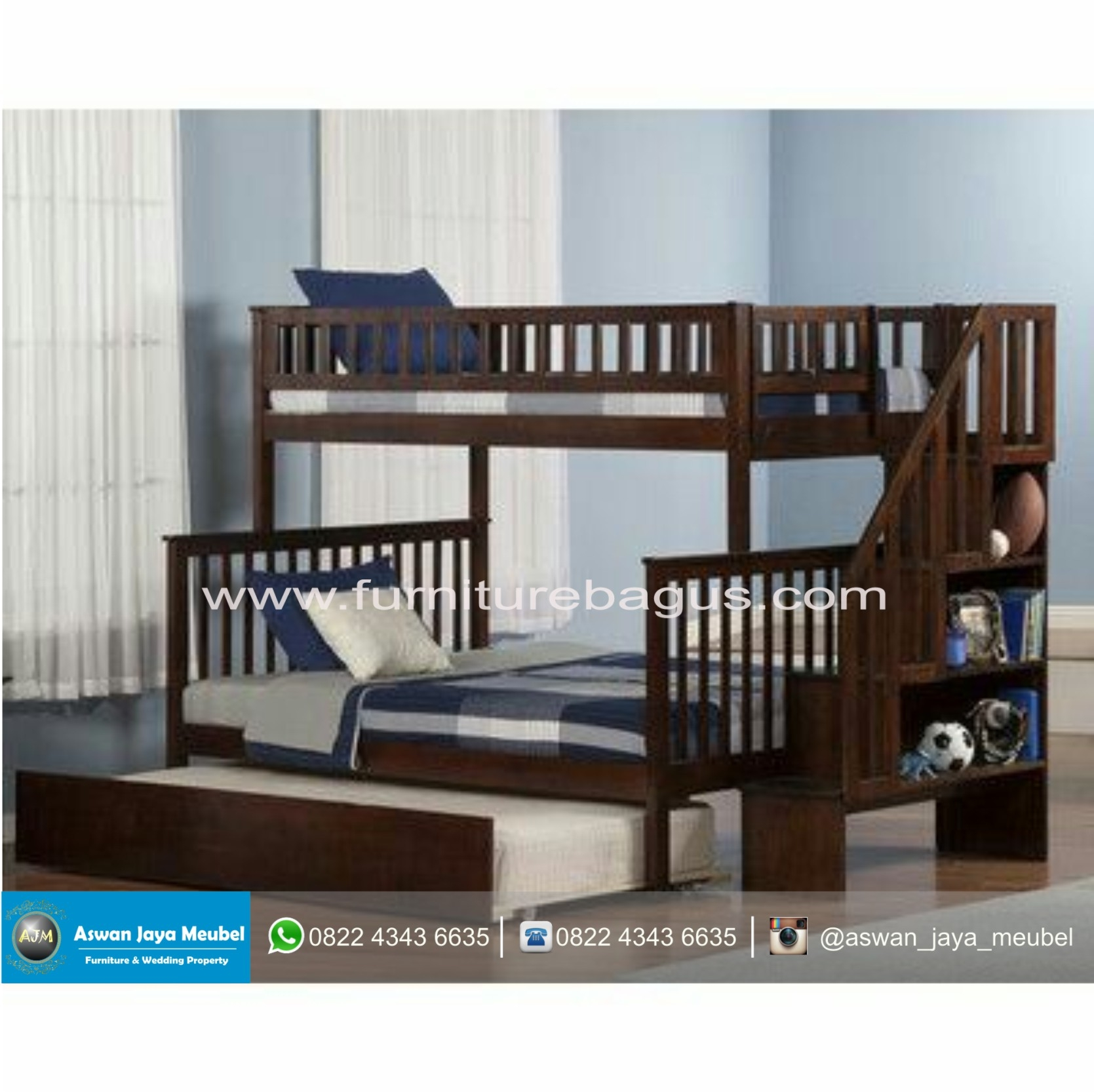Woodland Twin Over Full Bunk Bed with Trundle and Stairs