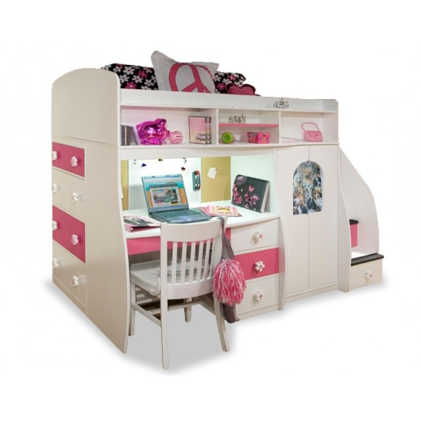 Berg Furniture Twin Loft With Central Play Area And Desk