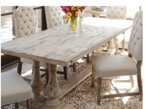 White distressed dining table foter for Distressed white dining table