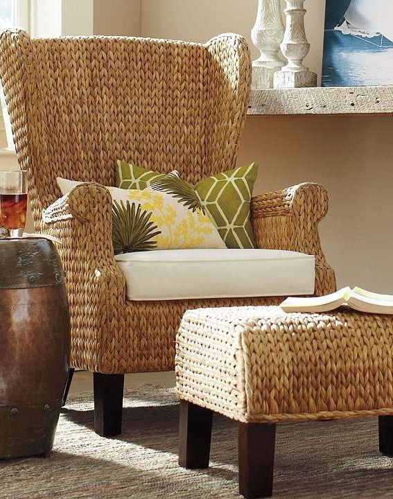 High Back Wing Chair Constructed From Durable Seagrass And Rattan