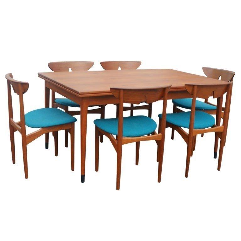 Kurt Ostervig Scandinavian Teak Dining Table 6 Chairs Circa 1960