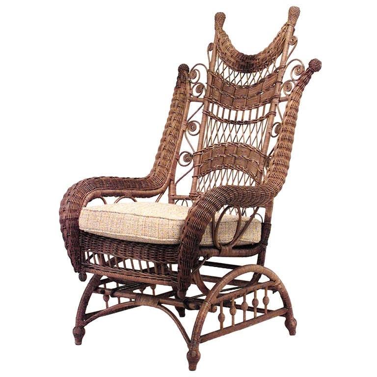 Victorian Natural Wicker Ornate High Back Platform Rocking Chair