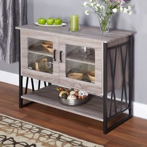 Buffet Storage Cabinet in Reclaimed Wood Distressed Gray Finish, Black Steel Frame and Glass Inlaid Doors, Lower Shelf. This Chic Wood Buffet Gives an Industrial Rustic Appeal, Modern, Yet Weathered Wood Look. Glass Doors, One Fixed Shelf Inside.
