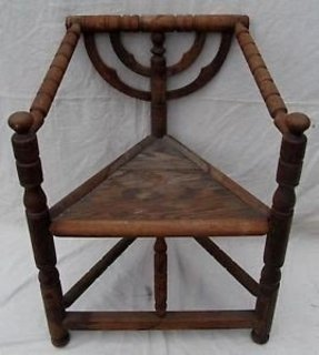 Important 19th century pilgrim century carved corner chair must see
