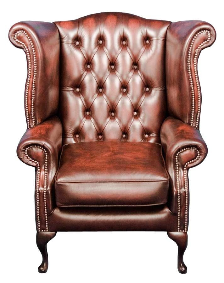 Red Leather Wing Back Arm Chair Ebay Queen Anne Style