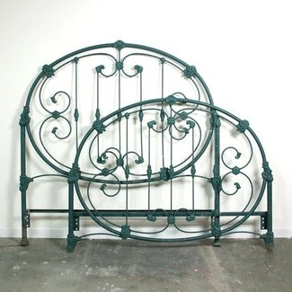 Vintage iron headboard footboard full