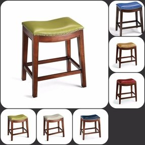 Leather saddle bar stool