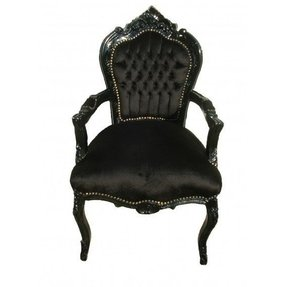 Noir french carved rococo black side chair furniture side chairs