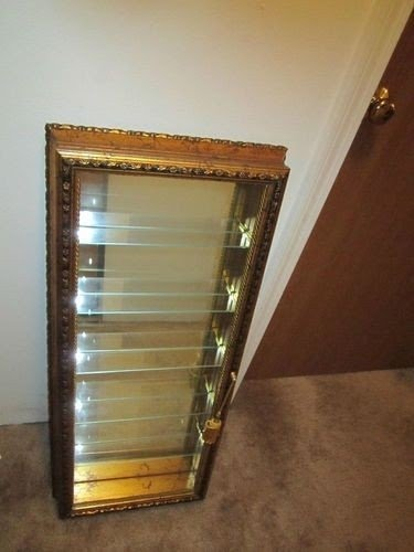 Artistiche Curio Display Cabinet W Glass Shelfs Gold Style Frame