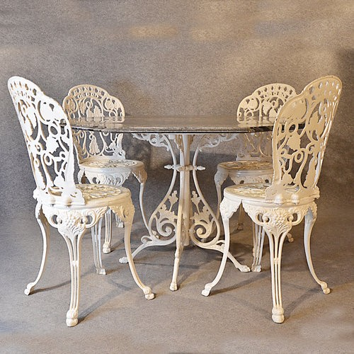 Cast Iron Marble Table Four 4 Chairs Vintage Garden Conservatory