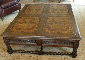 Old world furniture italianate coffee table with hand carved