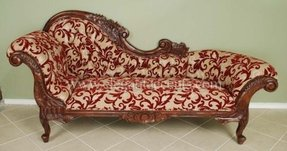 victorian chaise lounge. Victorian Chaise Lounge Brown Lacquer Finish With Red Lily Pattern