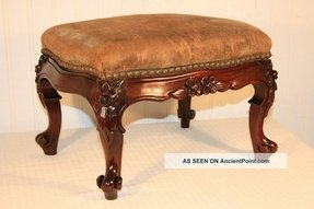 Antique petite victorian floral deeply carved mahogany footstool
