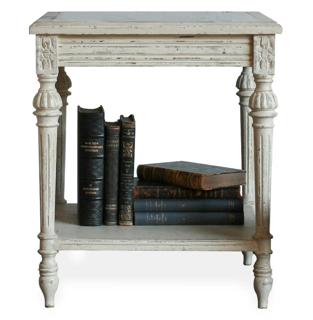Claude French Country Grey Wash Carrera Marble End Table Nightstand