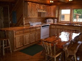 Custom cedar kitchen cabinet