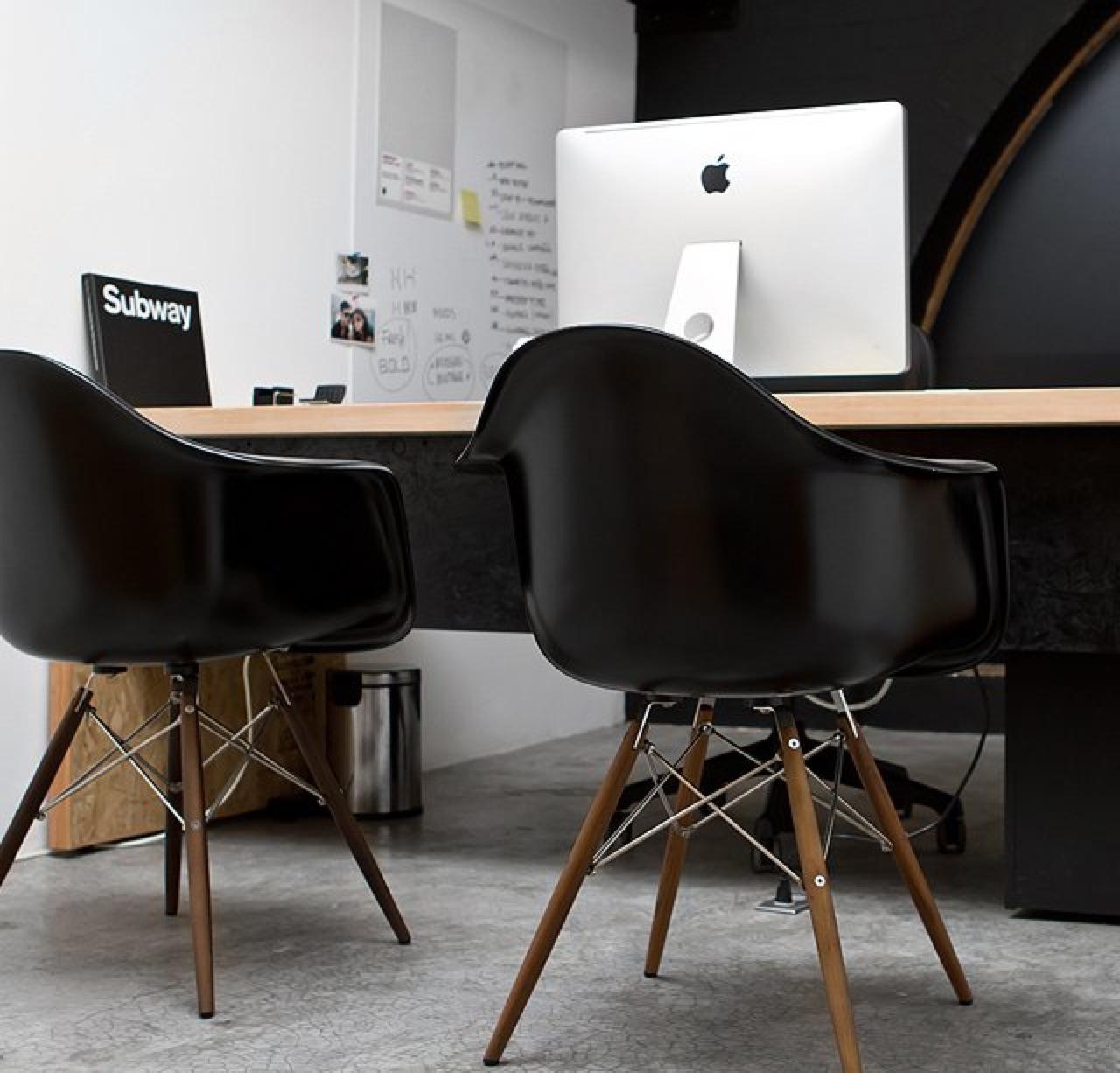 Bon Eames Molded Plastic Armchair With Wood Dowel Base 1