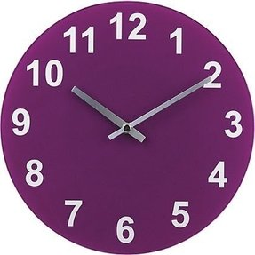 For colourmatch purple fizz round glass wall clock from storename