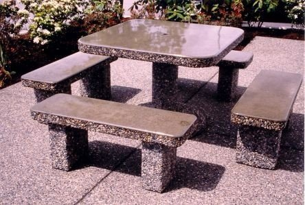 Set home products concrete tables classic stone square patio table & Granite Patio Tables - Foter