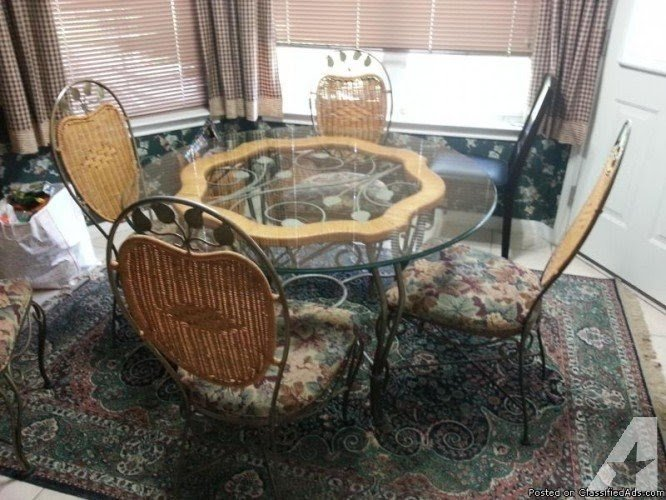 Wrought iron kitchen table sets claudia woven top w print & Glass Top Wrought Iron Dining Table - Foter