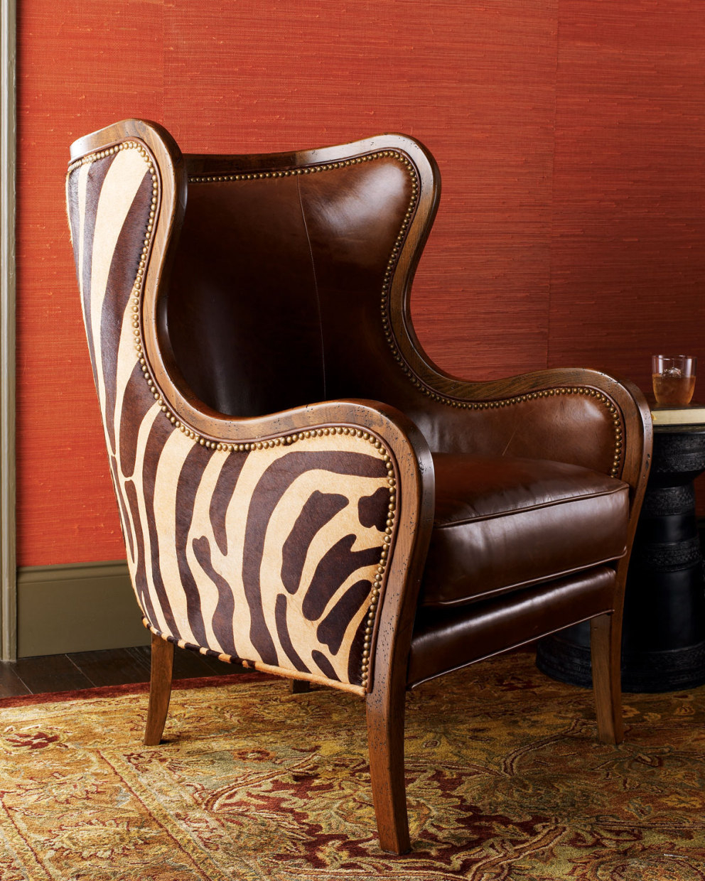 Massoud chocolate zebra wing chair horchow 2