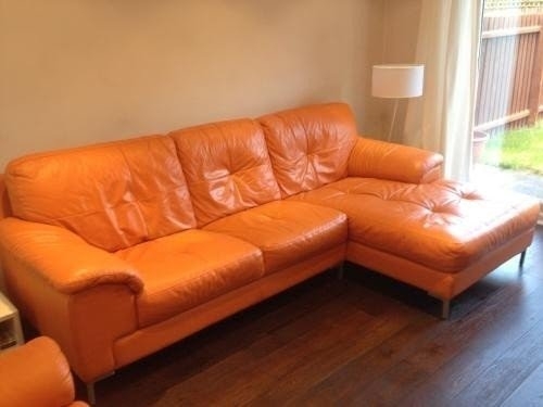 Orange Leather Sofa Swivel Chair Excellent Condition